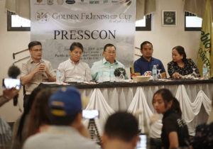POGCC President Chrysler Acebu (leftmost) addresses the press during the launch of the Golden Friendship Cup.