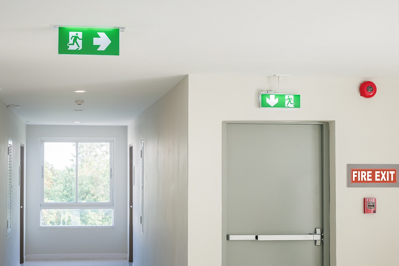 A shot of a building's emergency exit