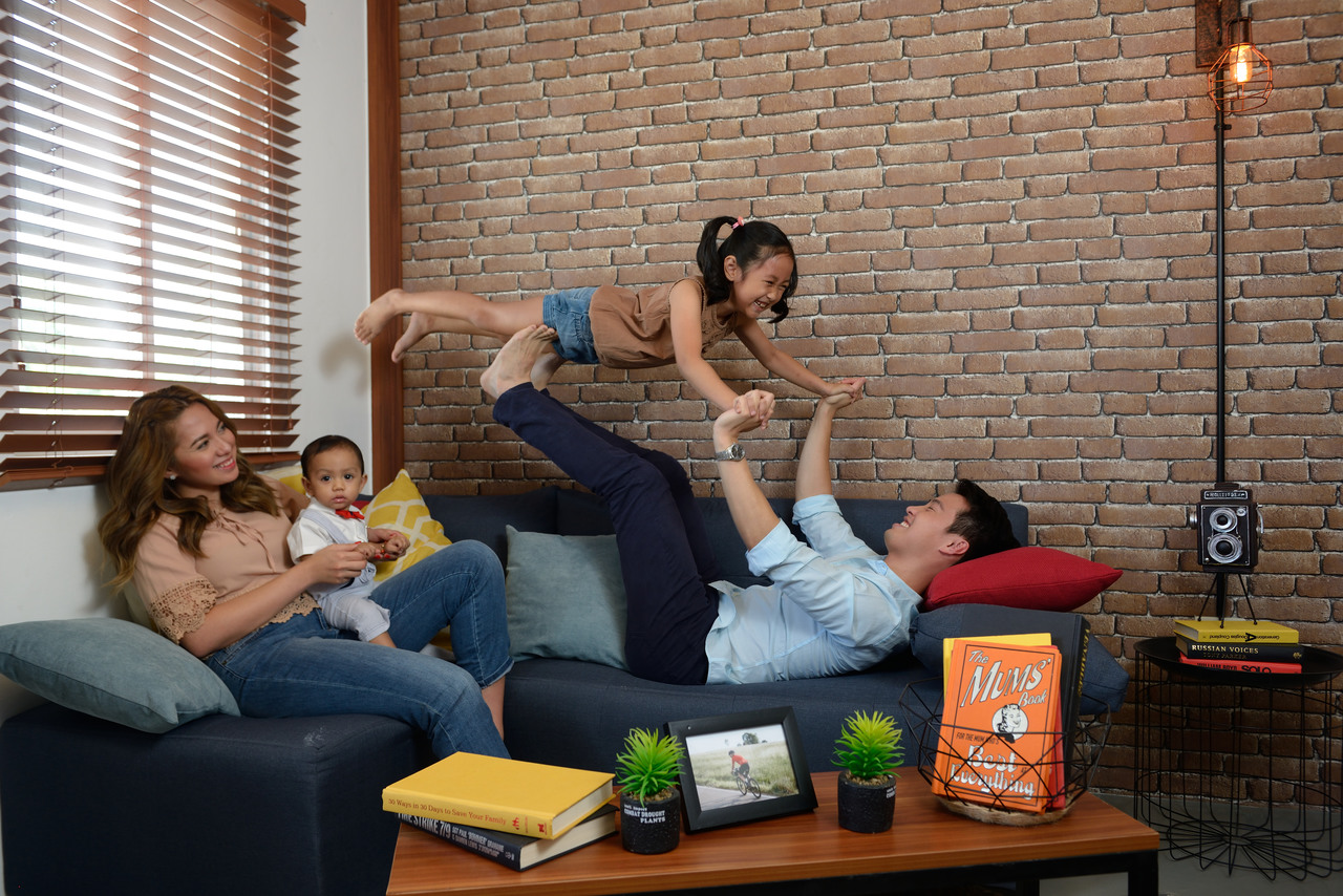 A family having fun in their living room